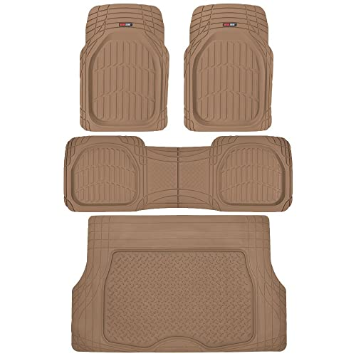 Motor Trend 4pc Beige Car Floor Mats Set Rubber Tortoise Liners w/ Cargo for Auto
