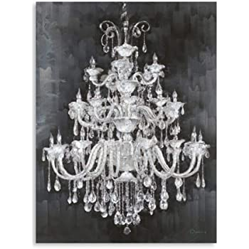 B BLINGBLING Chandelier Wall Art Canvas: Diamond Chandelier on Vintage Background Canvases for Painting with Frame Ready to Hang (24''x32''x1 Panel)