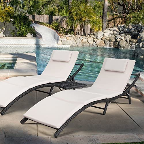 Best Devoko Patio Chaise Lounge Sets Outdoor Rattan Adjustable Back 3 Pieces Cushioned Patio Folding Chai
