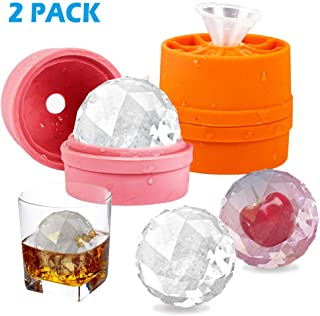 Ice Diamond Balls Mold Large Square 2 Pack,BPA Free Silicone Round Ice Ball Maker Durable & Easy-Release Ice Cubes Tray (2 pack)