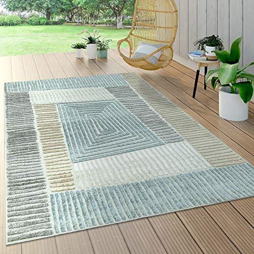 Paco Home In- & Outdoor Teppich, Terrasse u. Balkon, Wetterfest Modern Geometrische Muster, Grösse:200x290 cm, Farbe:Beige