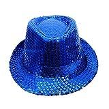 UJUNAOR Unisex Jazz Hut Jazzhutes Pailletten-Kappe Tanz Caps Show Aufführungs Hüte(Blau)