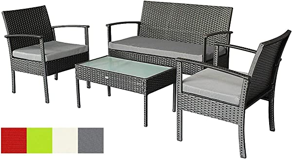 Stellahome Rattan Patio Furniture Sets 4 Pieces Outdoor Seating Wicker Porch Furniture Loveseat And Chairs With Extra Cushion Covers For Replacement