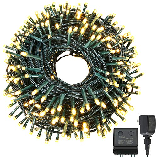 holahome Led Christmas String Lights Outdoor Indoor - 115Ft 300 LED UL Certified 8 Modes End to End Plug - Warm White Fairy Lights for Xmas Tree, Wedding, Patio, Garden, Holiday Decoration