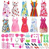 carocheri Doll Clothes for Barbie Dresses Gown with Shoes Outfit Set for Xmas Birthday Gift(69 Pack)