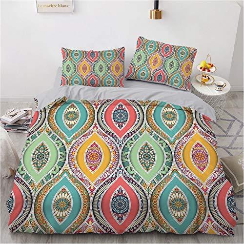 Bemal - Funda de edredón indio 3D, 100 % fibra de poliéster, cómoda y suave, para habitación familiar, cama individual y doble, incluye una funda nórdica (J,135 x 200 cm)
