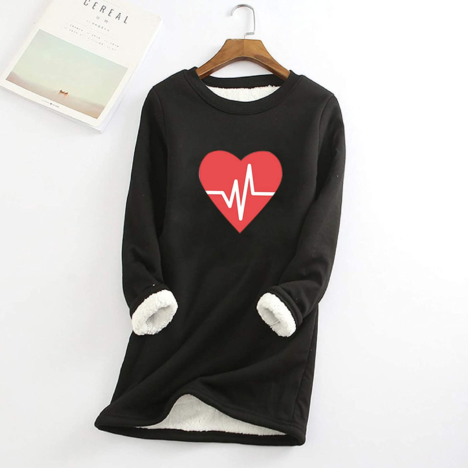 LOVESOO Thermal Underwear for Women Long Sleeve Shirts Beating heart Tunic Tops Winter Warm Basic Casual Bolouses