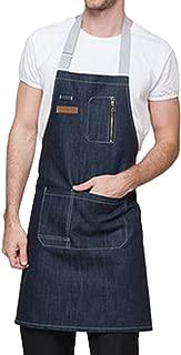 Feoya Unisex Delantal Denim con Bolsillos Mandil Mandil para Camareros Trabajo Restaurante Cafetería 62 * 60cm - Azul
