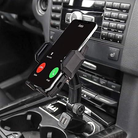 急速充電車載ホルダー デュアルUSBポー携帯カーマウント 360度回転スマートフォンホルダー 対応機種:3.5-6.8インチスマホ