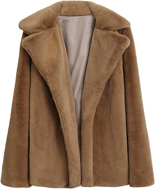 NIKISI Women Casual Warm Winter Long Lapel Solid Faux Fur Coat L