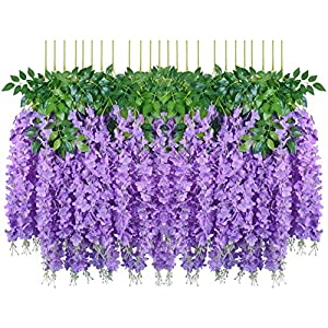 Hauswahl 24 Pack (80FT) Artificial Wisteria Vine Ratta Fake Wisteria Hanging Garland Silk Long Hanging Bush Flowers String Home Party Wedding Décor (24, Purple)