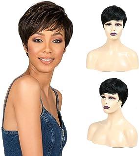 BOBIDYEE レディースショートストレートブラック人工毛ウィッグで上品なボブスタイルサイドパート髪の毎日の服装のかつら (Color : ブラック)