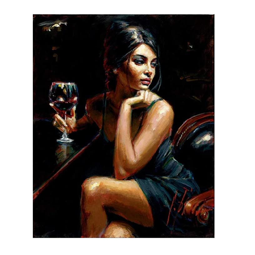 LB DIY Oil Painting , Paint By Number Kits Digital Oil Painting -The Sex Lady With Red Wine 16''X20''.