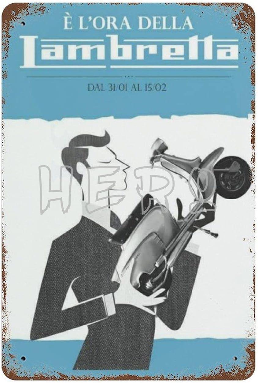 XREE Lambreta Innocenti Scooter Vespa - Cartel de lata para motocicleta, 30 x 40 cm, diseño vintage para el hogar y accesorios displate de estaño retro placas de metal pintura de hierro Rusty Poster