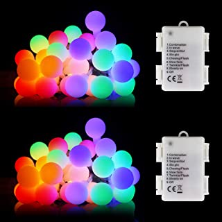 Mitcent Colored String Lights, 2 Packs13ft 40 Battery Powered String Lights, led String Lights for Christmas Trees Indoor and Outdoor with with Timer, 8 Modes Christmas String Lights