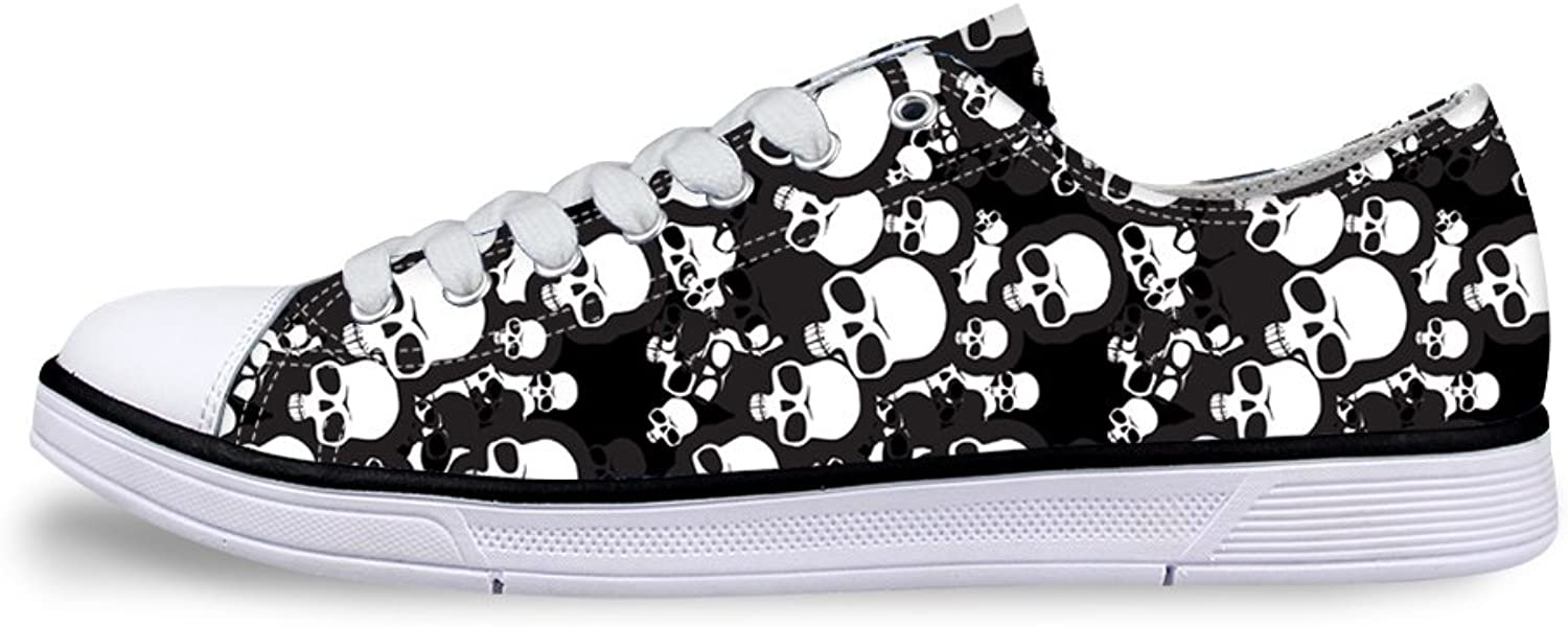 Mumeson Stylish Skull Print Light Canvas Sneaker Awesome Women Low Top Casual shoes