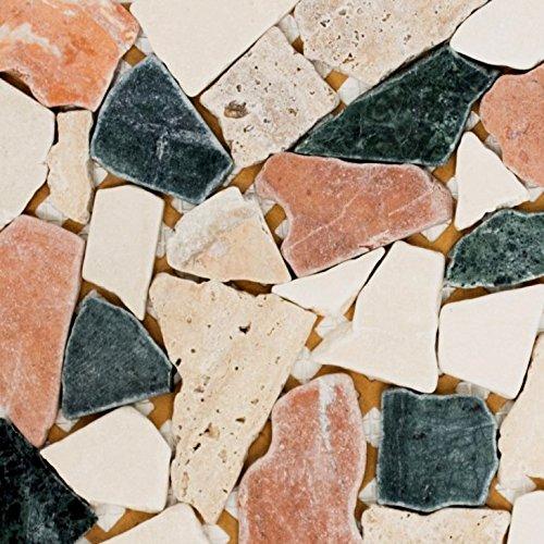 Mosaik Fliese Marmor Naturstein creme beige rot grün Bruch Ciot Random für BODEN WAND BAD WC DUSCHE KÜCHE FLIESENSPIEGEL THEKENVERKLEIDUNG BADEWANNENVERKLEIDUNG Mosaikmatte Mosaikplatte
