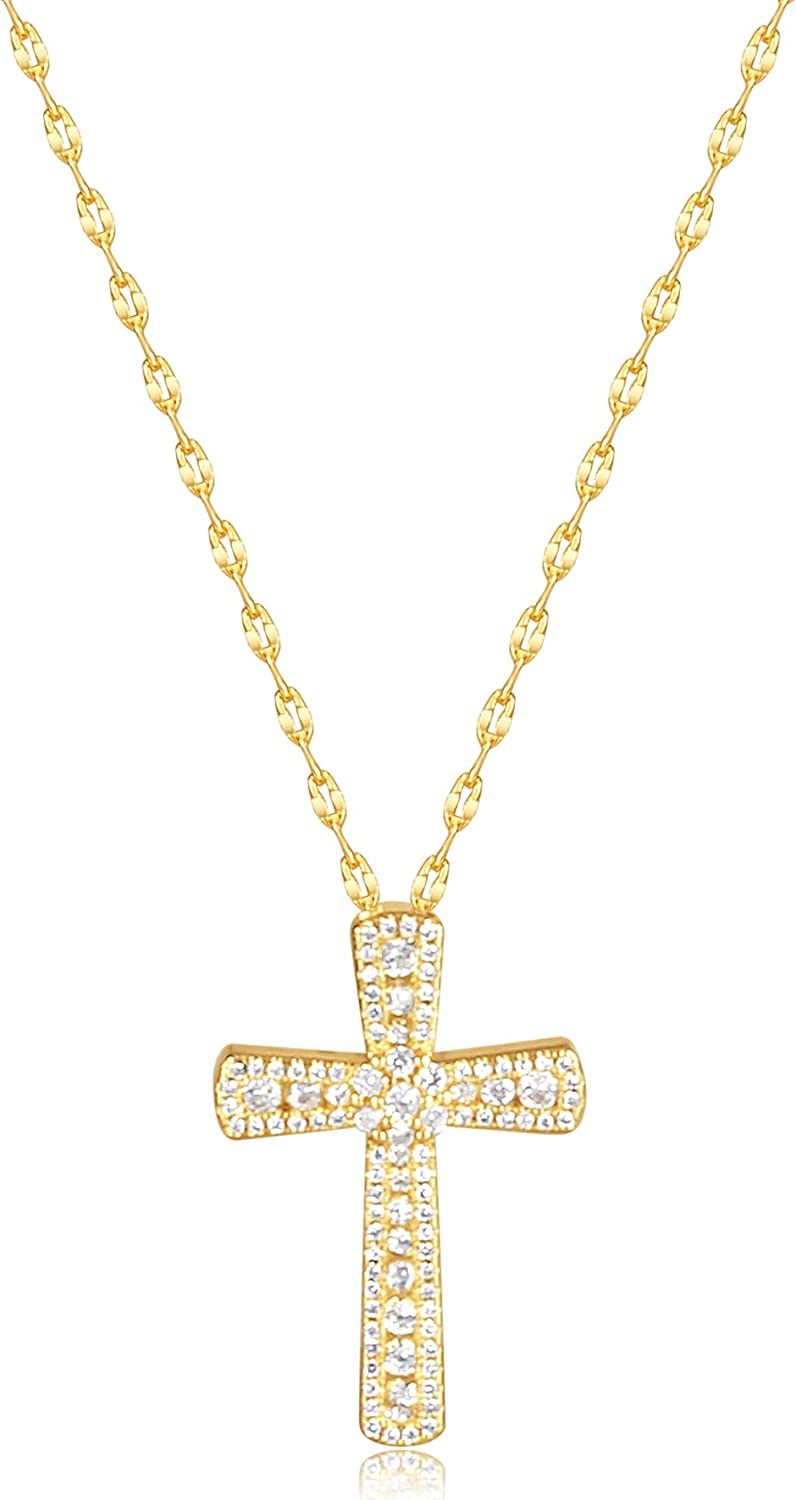 Gold Cross Necklace Women Stainless Steel Chain Cubic Zirconia Rhinestone Crystal Good Luck Wish Protection Dainty Small Cross Necklaces