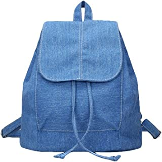 Vintage Denim Mini Backpack Jeans String Bag Shoulder Bag Rucksack, Blue (Blue) - niuzai2-bu