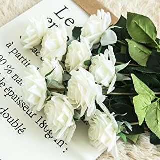 JOEJISN Artificial Flower Roses Fake Roses 12pcs Real Touch Artificial Roses Silk Artificial Roses Long Stem Bridal Wedding Bouquet for Home Garden Office Wedding Decorations (Pure White)
