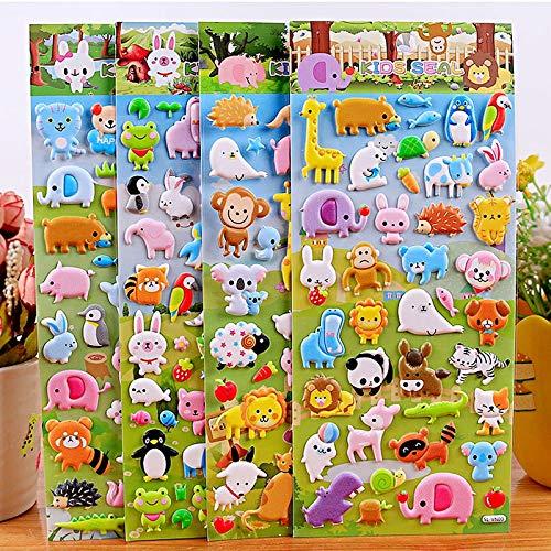 PMSMT 4 Piezas niños Kawaii Animal Pato Burbuja niña niño Pegatinas bebé Tigre álbum de Recortes pegajoso niños educación Divertida