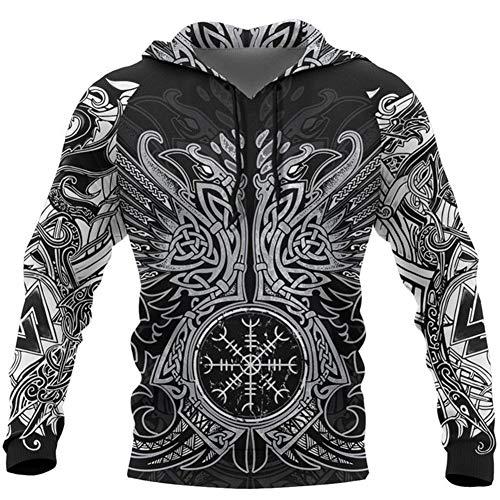 Viking Norse Mythology Sweatshirt, 3D Digital Printing Odin Tattoo Totem, Unisex Handmade Autumn Winter Fashion Loose Hooded Sweater Art Clothes with Pocket,B,6XL