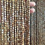 Refue Cuentas Madera Colgante Cortina de Puerta café Hecho a Mano Cuentas Redondas Decoración Puerta de Entrada Fácil de Instalar