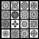 SIYI-XIU 16 Pezzi Mandala Stencil Templates Mandala Punteggiatura Stencil Stencil Pittura Riutilizzabili in Plastica Pareti Fai da te Scrapbook D'arte