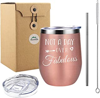 Not a Day Over Fabulous - Thanksgiving Christmas Gift Birthday Gifts for Girl,Wife,Mother,Relative - unbreakable Coffee Mug Stainless Steel Wine Tumbler with Sayings(Rose Gold)
