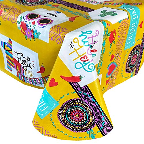 Newbridge Fiesta Time Southwestern Party Print Vinyl Flannel Backed Tablecloth, Fiesta Celebration Bright and Bold Waterproof Patio, Kitchen Tablecloth, 60 Inch x 84 Inch Oblong/Rectangle