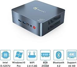 Beelink U57 Mini PC with Intel Core i5-5257u Processor(up to 3.10 GHz)&Windows 10 Pro,8G DDR3L/256G SSD High Performance Business Mini Computer,2.4G/5G Dual WiFi,BT4.2,Dual HDMI Ports