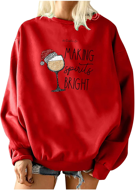 Christmas Women Long Sleeve Sweatshirt Cute Hat Letter Print Crewneck Pullover Oversized Hoodie Loose Fit Fleece Tops