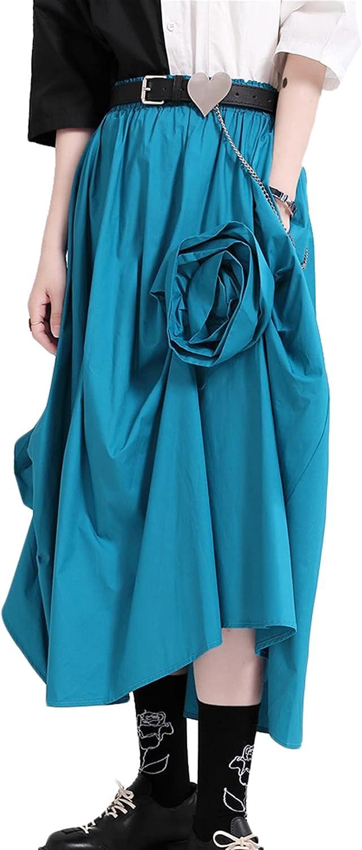 CHARTOU Women's Retro High Waist Flower Irregular Steampunk Midi Long A-Line Swing Skirt
