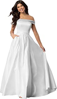 93c1d4dca5 Lianai Women s Off The Shoulder Beaded Satin Prom Dress A-line Formal Gown  with Pockets