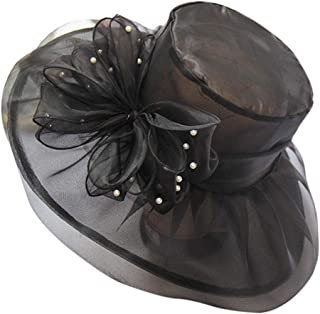 Graysky Organza Church Kentucky Derby Fascinator Cap for Women Bridal Tea Party Wedding Hat Summer Wide Brim Sun Hat