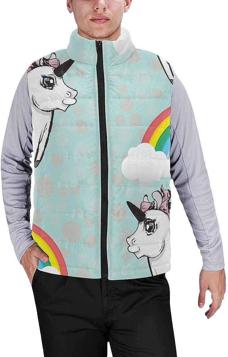 InterestPrint Men's Lightweight Keep Warm Puffer Vest for Outdoor Unicorns and Rainbows M