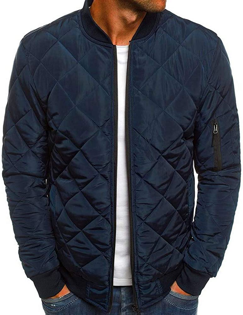 Mens Flight Bomber Jacket Diamond Quilted Varsity Jackets Winter Warm Padded Coats Outwear
