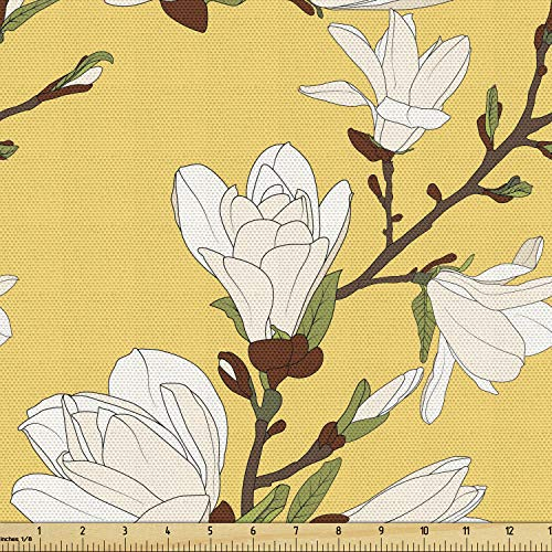 Ambesonne Floral Fabric by The Yard, Retro Magnolia Tree Branch Flourishing Fragrance Blossoms Pattern Print, Decorative Fabric for Upholstery and Home Accents, 1 Yard, Mustard Brown