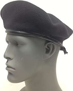 NEW US MILITARY ISSUE INSPECTION READY BLACK WOOL BERET SIZE 7 1/2 MEDIUM DSCP