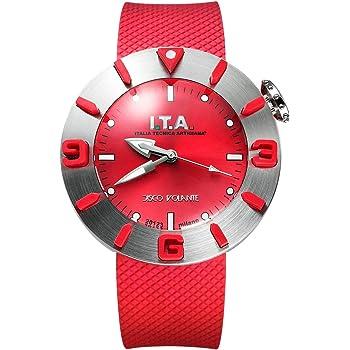 I.T.A. アイティーエー 腕時計 ディスコボランテ ドーム型ガラス メンズ レディース レッド/シルバー ラバー DISCO VOLANTE Ref.31.00.02【国内正規品】