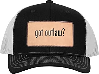 One Legging it Around got Outlaw? - Leather Light Brown Patch Engraved Trucker Hat