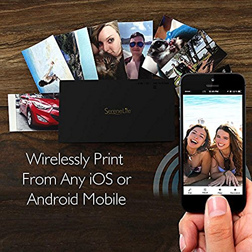 Portable Instant Mobile Photo Printer - Wireless Color Picture Printing from Apple iPhone, iPad or Android Smartphone Camera - Mini Compact Pocket Size Easy for Travel - SereneLife PICKIT22BK (Black)