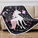 Rose Home Fashion Cute Fuzzy Birthday Unicorn Blanket Girls Cartoon Unicorn with Unicorn Gifts for Women,Unicorn Gifts Throw, 50' x 60', Black