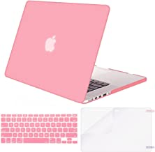 MOSISO Case Only Compatible with Older Version MacBook Pro Retina 13 inch (Models: A1502 & A1425) (Release 2015 - end 2012), Plastic Hard Shell & Keyboard Cover & Screen Protector, Pink