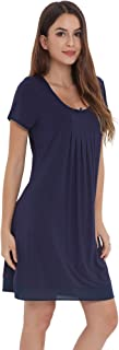 LazyCozy Women's Sleepwear Bamboo Nightgown Short Sleeve Nightshirt