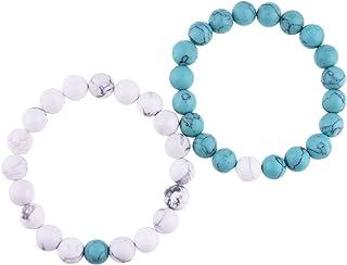 Belons Par de pulseras elásticas de 10 mm, azul y blanco, turquesa, cuentas de energía de piedras de energía, pulseras de ...