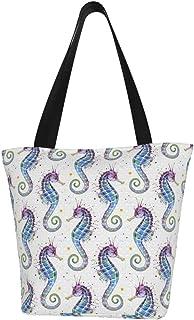 Lesif Einkaufstaschen, Seepferdchen-Motiv, lila, Segeltuch, Einkaufstasche, wiederverwendbar, faltbar, Reisetasche, groß und langlebig, robuste Einkaufstaschen