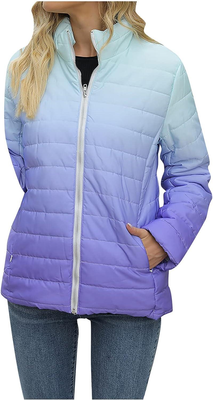 Women Cotton-Padded Jacket Outdoor Gradient Printed Long Sleeve Pocket Zip Up Windproof Lightweight Warm Coat