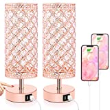 Touch Control Crystal Table Lamp Set of 2 Bedside Nightstand Lamps with 2 USB Charging Ports, 3-Way Dimmable, K9 Crystal Decorative Desk Lamp for Bedroom, Girls Room, Bulbs Included