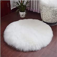 Elhouse Round Mat Home Decor Faux Fur Sheepskin Rugs Kids Carpet Nursery Bedroom Fluffy Rug Shaggy Area Rug, Diameter 2ft White